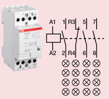 contactor 4 circuit 24 amp high quality abb contactor. Black Bedroom Furniture Sets. Home Design Ideas