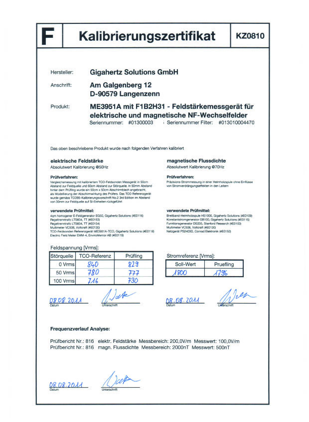 Calibration certificate me3951a and me3851a emf meters factory calibration certificate with data available for the me3851a and me3951a yadclub Images